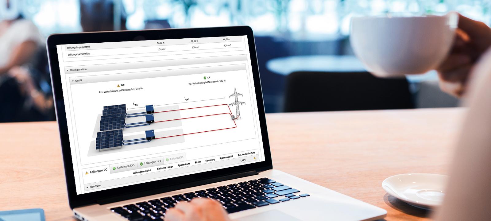 Auch die Dimensionierung der Leitungen kann über das System vorgenommen werden.